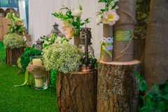 Wedding still life in rustic style. Retro stylized photo. Royalty Free Stock Photography