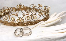 Wedding still life with tiara Stock Photography