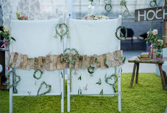 Wedding stools from behind royalty free stock image