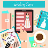 Wedding store concept flat vector illustration. Woman shopping in online shop with her touch pad. Wedding store concept flat vector illustration. Woman shopping Royalty Free Stock Photography