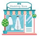 Wedding store facade view. Wedding salon building icon. Boutique shop with fashionable bridal dresses. Vector illustration Stock Photo