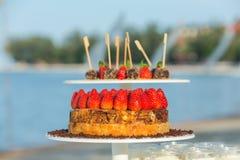 Wedding Strawberry cake Royalty Free Stock Photography