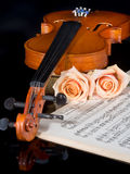 Wedding strings. Sheet music of the Wedding March, with roses and violin royalty free stock images