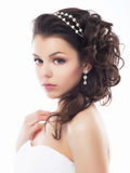 Wedding style - gentle young fiancee. Festive royalty free stock photo