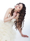 Wedding style - lovely fiancee in white dress Stock Image