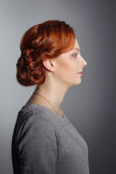 Wedding styling the girl in regular clothes. Sample hairstyles before party-4. Stock Image