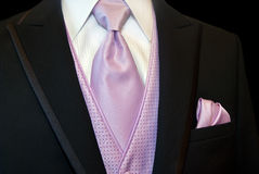 Black tuxedo with pink tie and vest. Royalty Free Stock Images