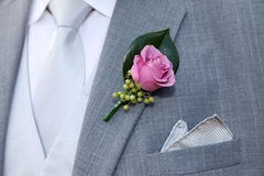 Wedding suit. With tie and rose buttonhole Stock Photography