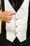 Wedding suit detail with lost buttom. Close-up of elegance man hand with wedding ring, suit Royalty Free Stock Photos
