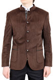 Wedding suit on five buttons, brown. royalty free stock photos