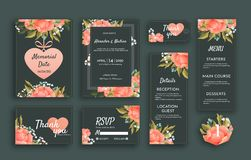 Wedding suite template decorate with beautiful lowers. Including memorial date card, invitation card, wedding menu vector illustration