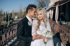 Wedding sunny weather and beautiful couple Royalty Free Stock Images