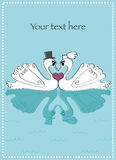 Wedding Swans with oval scallop border Stock Photography