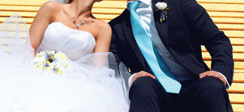 Wedding sweet couple, bride and groom kissing Stock Images