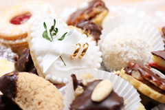 Wedding sweets. Various kinds of wedding sweets and cakes with decoration Stock Image