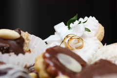 Wedding sweets. Various kinds of wedding sweets and cakes with decoration Stock Images