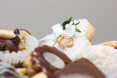 Wedding sweets. Various kinds of wedding sweets and cakes with decoration Royalty Free Stock Photography