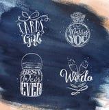 Wedding symbols blue Royalty Free Stock Images