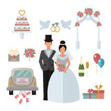 Wedding symbols bride bridegroom married couple, marriage car fat vector illustration. Royalty Free Stock Photo