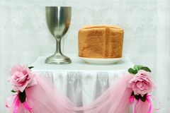 Wedding symbols of Christianity. Bread and drink - wedding symbols of Christianity Stock Image