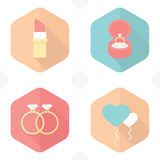 Wedding symbols lipstick, rings, gifts, balloons,  Heart. Icons design Royalty Free Stock Photos