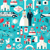 Wedding symbols set. Flat icons for your wedding design.Seamless pattern Stock Photography