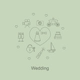 Wedding symbols in style line art on light background. Royalty Free Stock Photo