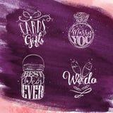 Wedding symbols violet Royalty Free Stock Photos