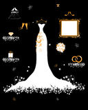 Wedding System, weißes Kleid und Zubehör Stockbild