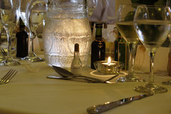 Wedding table. Table setting for wedding breakfast stock image