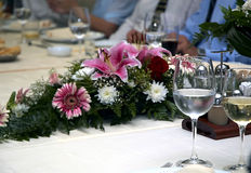 Wedding table. Set table. Wedding time with guests royalty free stock photos