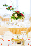 Wedding table. Fancy golden table set for a wedding dinner Royalty Free Stock Photography