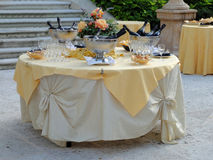 Wedding table. A very impressive elegant and wined wedding table Stock Photo