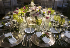 Wedding table. Colorful wedding table with an afternoon light Royalty Free Stock Images
