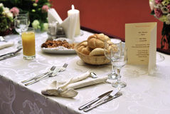 Wedding table. Photo of a wedding table - copy space Royalty Free Stock Photos