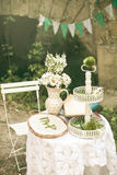 Wedding table. Decoration Princess on a pea Royalty Free Stock Image