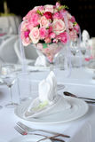 Wedding table. Set for dinning,table linen Stock Photo