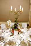 Wedding table 3. Dinner table setting at a banquet with flowers on a chandelier 3 Royalty Free Stock Photos