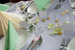 Wedding table. Detail of wedding table in the green colors Royalty Free Stock Photos