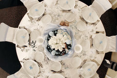 Wedding table. Seen from above - ballroom Royalty Free Stock Images