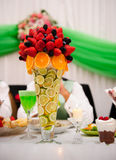 Wedding table arrangement. With flowers Stock Image