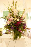 Wedding table arrangement. Outdoor wedding table arrangement royalty free stock photos