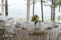 Wedding table arrangement in the garden with view Stock Photography