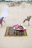 Wedding table arrangement of lounge rest zone Royalty Free Stock Photo