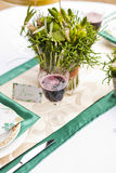 Wedding table arrangement in resaurant Stock Image