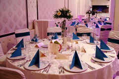 Restaurant. Event table arrangement: wedding, baptism, party Stock Photo