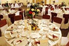 Wedding table in banquet ballroom interior
