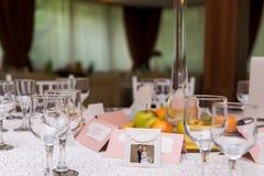 Wedding table in banquet ballroom interior Stock Photos