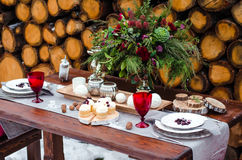Wedding table. Beautiful winter decorations. Decor for winter photo shoot Royalty Free Stock Images