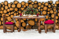 Wedding table. Beautiful winter decorations. Decor for winter photo shoot Royalty Free Stock Photography